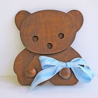 vintage wood rack - childrens teddy bear coat rack