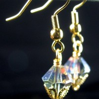 Dainty Vitrail Crystal Earrings, Golden Wire Wrapped Rainbows