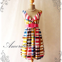 Rainbow Bright- Colorful Summer Dress Stripe Dress Party Popping Tea Dress Party Event Everyday Dress Pumpkin Hem -S-M-