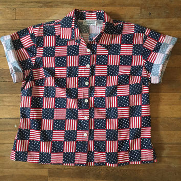 Vintage USA flag button-down collared shirt | womans large XL or mens medium | patriotic americana american flag blouse | july 4 tops unisex