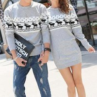 Buy Hanee Nordic Print Couple Knit Sweater / Sweater Dress | YesStyle