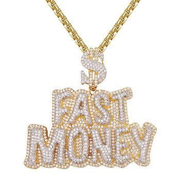 Designer Fast Money HipHop Dollar Sign Gold Tone Pendant Set