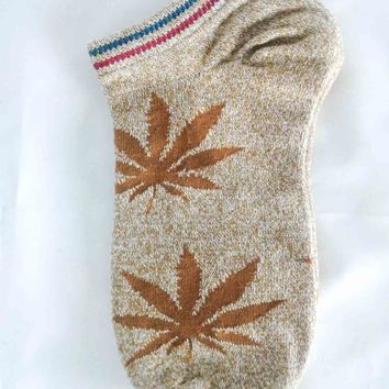 Light Tan Cannabis Leaf Crew Socks