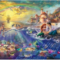 """ The Little Mermaid "" Classic Cartoon oil Painting HD canvas Print Art Home Decor 24x36 inch."