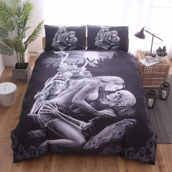 Cool 3D skull Marilyn black twin full queen king bedclothes Bed Linen duvet cover set bedding setAT_93_12