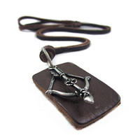 Brown real Leather and alloy pendant adiustable necklace mens necklace  unisex necklace cool necklace B165