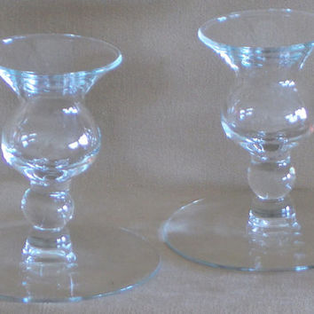 Vintage 80's Princess House Crystal Candle Holders, Simple Elegance, Classic Style, Clear Crystal, Household, Decor, Lighting, Wedding, Gift