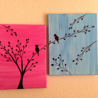 Love birds painting Acrylic painting canvas art Pink Blue background Birds silhouette Wall decor Birds on a branch Two canvases Canvas set