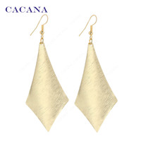 2016 new CACANA gold plated dangle long earrings for women simple one rhombus top quality bijouterie hot sale No.A383 A384