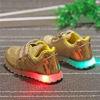 New Fashion LED Colorful Lights Kids Sneakers Cool High Quality Children Shoes With Light Brand Casual Baby Boys Girls Shoes LED [8096620039]