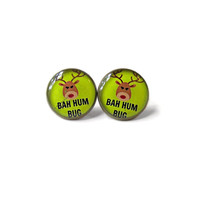 BAH HUM BUG Earrings - Funny Christmas Pop Culture Jewelry