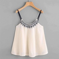 2017 Summer New Embroidery Camis Women Casual Sleeveless Loose Crop Top Vest Tank Shirt Cami Top Female Vest