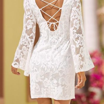 White Plain Lace Hollow-out Drawstring Backless Bandage Bell Sleeve Party Mini Dress