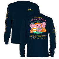 Simply Southern Give Thanks Fall Pumpkin Preppy Pig  Long Sleeve T-Shirt