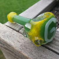 GreenBay Packers pipe glass spoon green yellow football