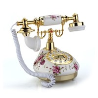 VivReal® Retro Vintage Antique Style Floral Ceramic Home Decor Desk Telephone Phone