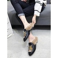 Tager Embroidered Faux Fur Flat Slippers