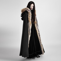 New punk gothic Fur collar long trench coat male and female court thick coat velvet hooded Wizard cloak cape