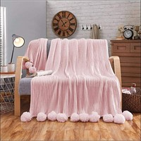 Knitted Throw Blanket with Pom Poms for Sofa/Bedding/Couch Cover
