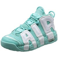 415082-300 GRADE SCHOOL AIR MORE UPTEMPO (GS) NIKE ISLAND GREEN WHITE