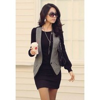 Black Long Sleeve Button Designed Dress