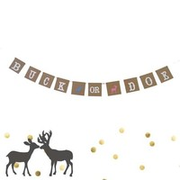 Buck or Doe Gender Reveal Garland Baby Shower Banner Boy or Girl Pregnancy Party