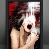 THE SCREAM - Simone Morana Cyla - 70x45cm - Digital Painting on aluminium with black wood frame - One piece artwork-High Quality-2013