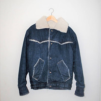 70s retro denim jacket 1970s vintage shearling jean jacket lined winter coat size large