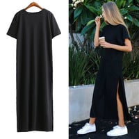 [TWOTWINSTYLE] Summer Side High Slit Long T shirt Women Sex Dress Short Sleeves Black New Fashion Clothing