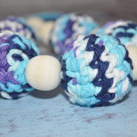 Nursing/Teething Necklace and Teething Ring- Turquoise, Navy, Purple, and White - Eco Baby Teething- Eco Mom Jewelry