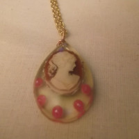 Lady in Red Resin Cameo Pendant With Pink Pearl Accents Wire Wrapped Pendant and Necklace