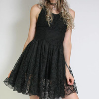 80s Black Lace Dress - Goth Dress Madonna - Above The Knee - Witchy Witch Dress - Ballerina - 80s Clothing - 80s Dress - Small - Poofy Dress