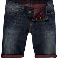 River Island MensDark wash contrast roll up denim shorts
