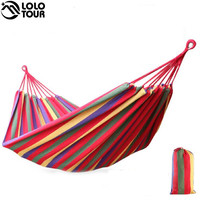 240*150cm 2 Person Hammock hamac outdoor Leisure bed hanging bed double sleeping canvas swing hammock camping hunting 3 Color