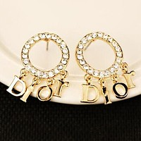 Dior Trending Women Stylish Letter Pendant Diamond Earrings Accessories Jewelry I13642-5
