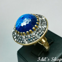 Authentic Turkish Ottoman Style Handmade 925 Sterling Silver Ring With Aquamarine Stone.