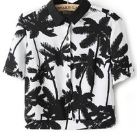 Tropical Palm Button-up Cropped Shirt - OASAP.com