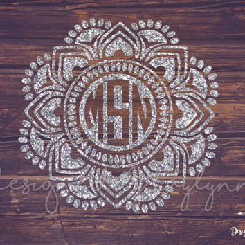 GLITTER reverse Mandala Decal, Mandala Decal, Mandalas, Yeti decal, Decals, Monogrammed mandala, Monograms, Car decal, Vinyl Decals
