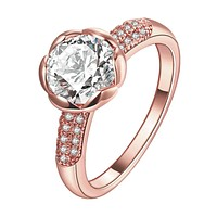 18K Rose Gold Plated Noémie Classic Circle Ring made with Swarovski