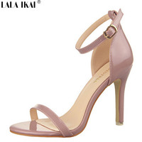 2015 Summer Sandals Women Pumps Open Toe Buckle Ankle Strap High Heels Solid Office Shoes Women Casual Ladies Shoes XWF0297-5