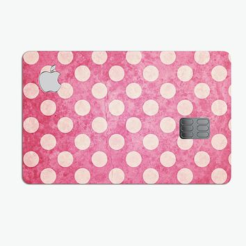 White Polka Dots Over Grungy Pink  - Premium Protective Decal Skin-Kit for the Apple Credit Card