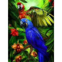 5D Diamond Painting Blue and Green Macaws Kit