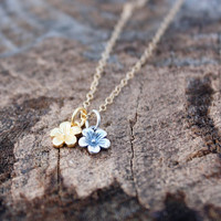 Two Tone Cherry Blossom Necklace - TINY Cherry Blossom Charms . 24K Gold Dipped & Sterling Silver . Mixed Metals . Pretty Charm Jewelry