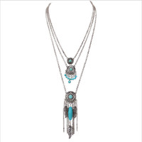 Boho Antique Silver 3 Layered Dream Catcher Leaves Feathers Charm Necklaces Round Turquoise Beads Necklace Jewelry XL-628