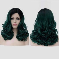 Medium Side Parting Fluffy Colormix Curly Synthetic Party Wig - Blackish Green   Fwresh Beauty