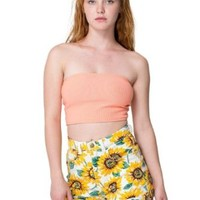 American Apparel Sunflower Print Stretch Bull Denim High-Waist Cuff Short - Sunflower / 26/27