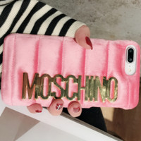 Moschino flannelette 8 simple letter iphone6 super 7plus luxurious X apple handset shell