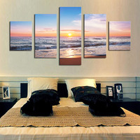 5 Piece(No Frame) Sunset sea Modern Home Wall Decor Canvas Picture Art HD Print Painting On Canvas for Living Room