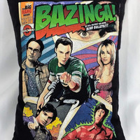 Big Bang Theory Bazinga comcis tshirt made into a decorative throw pillow cover.