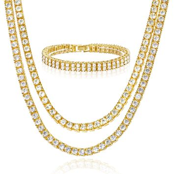 """Jewelry Kay style 16"""" / 20"""" Choker Double Tennis Chain 8"""" Bracelet SET  Iced Gold / Silver Toned"""